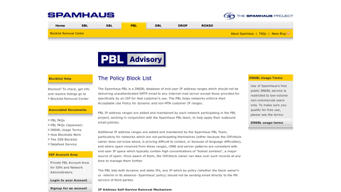 Screenshot of http://www.spamhaus.org/pbl/