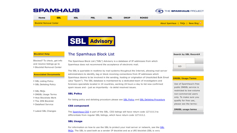 Screenshot of http://www.spamhaus.org/sbl/