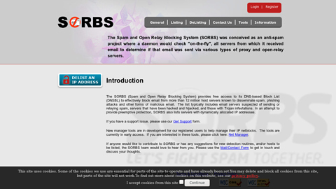 Screenshot of http://www.sorbs.net/