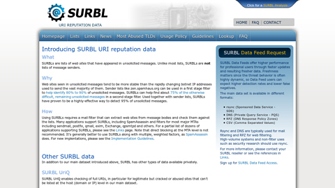 Screenshot of http://www.surbl.org/